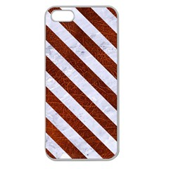 Stripes3 White Marble & Reddish Brown Leather Apple Seamless Iphone 5 Case (clear) by trendistuff