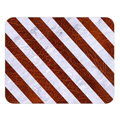 Stripes3 White Marble & Reddish Brown Leather Double Sided Flano Blanket (large)