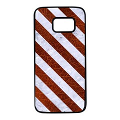 Stripes3 White Marble & Reddish Brown Leather Samsung Galaxy S7 Black Seamless Case by trendistuff
