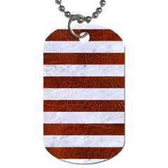 Stripes2white Marble & Reddish Brown Leather Dog Tag (two Sides) by trendistuff