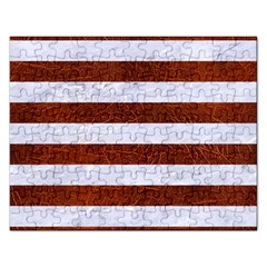 Stripes2white Marble & Reddish Brown Leather Rectangular Jigsaw Puzzl by trendistuff