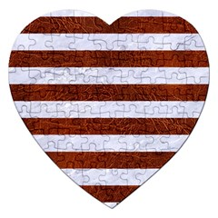 Stripes2white Marble & Reddish Brown Leather Jigsaw Puzzle (heart) by trendistuff