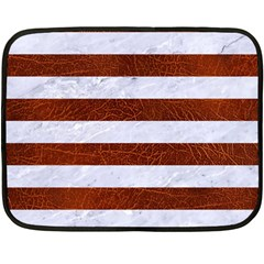Stripes2white Marble & Reddish Brown Leather Double Sided Fleece Blanket (mini)  by trendistuff