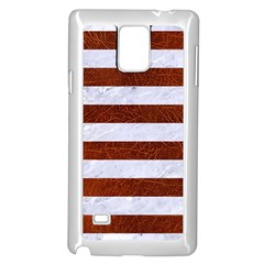 Stripes2white Marble & Reddish Brown Leather Samsung Galaxy Note 4 Case (white) by trendistuff