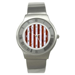 Stripes1 White Marble & Reddish Brown Leather Stainless Steel Watch by trendistuff