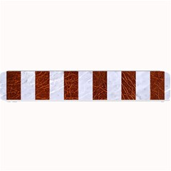 Stripes1 White Marble & Reddish Brown Leather Small Bar Mats by trendistuff