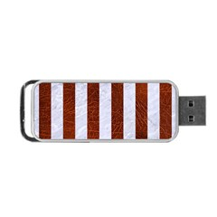 Stripes1 White Marble & Reddish Brown Leather Portable Usb Flash (two Sides) by trendistuff