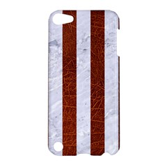 Stripes1 White Marble & Reddish Brown Leather Apple Ipod Touch 5 Hardshell Case by trendistuff