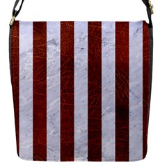 Stripes1 White Marble & Reddish Brown Leather Flap Messenger Bag (s) by trendistuff