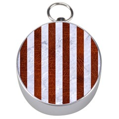 Stripes1 White Marble & Reddish Brown Leather Silver Compasses by trendistuff