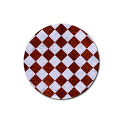 Square2 White Marble & Reddish Brown Leather Rubber Coaster (round)  by trendistuff