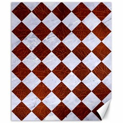 Square2 White Marble & Reddish Brown Leather Canvas 20  X 24   by trendistuff