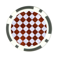 Square2 White Marble & Reddish Brown Leather Poker Chip Card Guard by trendistuff