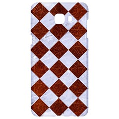 Square2 White Marble & Reddish Brown Leather Samsung C9 Pro Hardshell Case  by trendistuff