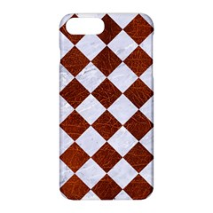 Square2 White Marble & Reddish Brown Leather Apple Iphone 8 Plus Hardshell Case by trendistuff
