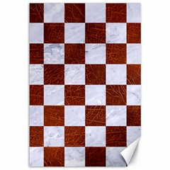 Square1 White Marble & Reddish Brown Leather Canvas 12  X 18   by trendistuff