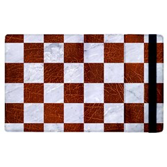 Square1 White Marble & Reddish Brown Leather Apple Ipad 2 Flip Case by trendistuff