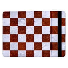 Square1 White Marble & Reddish Brown Leather Samsung Galaxy Tab Pro 12 2  Flip Case by trendistuff