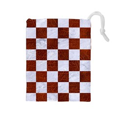 Square1 White Marble & Reddish Brown Leather Drawstring Pouches (large)