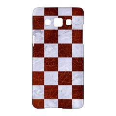 Square1 White Marble & Reddish Brown Leather Samsung Galaxy A5 Hardshell Case  by trendistuff