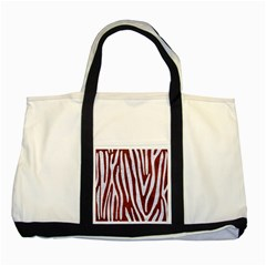 Skin4 White Marble & Reddish Brown Leather (r) Two Tone Tote Bag by trendistuff