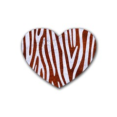 Skin4 White Marble & Reddish Brown Leather (r) Heart Coaster (4 Pack)  by trendistuff