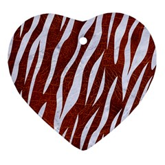Skin3 White Marble & Reddish Brown Leather Ornament (heart) by trendistuff
