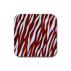 Skin3 White Marble & Reddish Brown Leather Rubber Square Coaster (4 Pack)