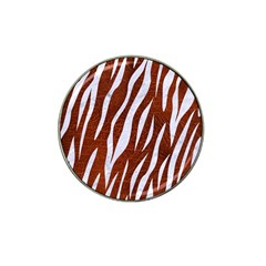 Skin3 White Marble & Reddish Brown Leather Hat Clip Ball Marker (10 Pack) by trendistuff