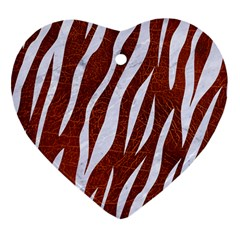 Skin3 White Marble & Reddish Brown Leather Heart Ornament (two Sides) by trendistuff