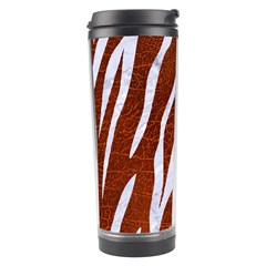 Skin3 White Marble & Reddish Brown Leather Travel Tumbler by trendistuff