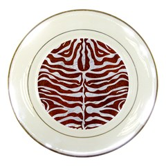 Skin2 White Marble & Reddish Brown Leather Porcelain Plates by trendistuff