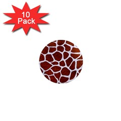 Skin1 White Marble & Reddish Brown Leather (r) 1  Mini Magnet (10 Pack)  by trendistuff