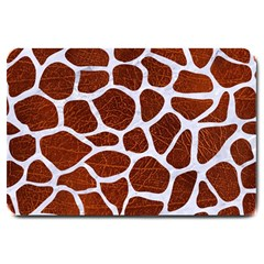 Skin1 White Marble & Reddish Brown Leather (r) Large Doormat  by trendistuff