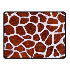 Skin1 White Marble & Reddish Brown Leather (r) Fleece Blanket (small) by trendistuff
