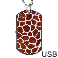 Skin1 White Marble & Reddish Brown Leather (r) Dog Tag Usb Flash (two Sides) by trendistuff