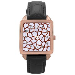 Skin1 White Marble & Reddish Brown Leather Rose Gold Leather Watch  by trendistuff