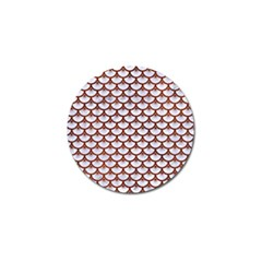 Scales3 White Marble & Reddish Brown Leather (r) Golf Ball Marker (4 Pack) by trendistuff