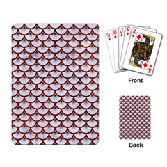 Scales3 White Marble & Reddish Brown Leather (r) Playing Card