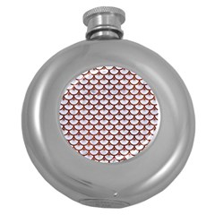 Scales3 White Marble & Reddish Brown Leather (r) Round Hip Flask (5 Oz) by trendistuff