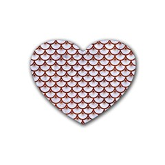 Scales3 White Marble & Reddish Brown Leather (r) Heart Coaster (4 Pack)  by trendistuff