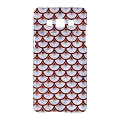 Scales3 White Marble & Reddish Brown Leather (r) Samsung Galaxy A5 Hardshell Case  by trendistuff