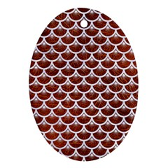 Scales3 White Marble & Reddish Brown Leather Ornament (oval)