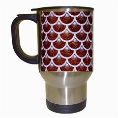 Scales3 White Marble & Reddish Brown Leather Travel Mugs (white) by trendistuff