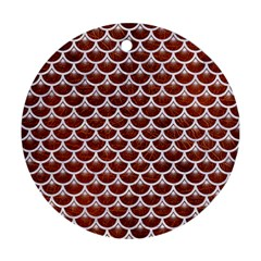 Scales3 White Marble & Reddish Brown Leather Round Ornament (two Sides) by trendistuff