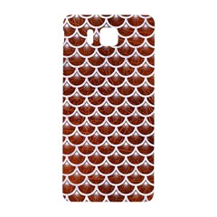 Scales3 White Marble & Reddish Brown Leather Samsung Galaxy Alpha Hardshell Back Case by trendistuff