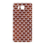 SCALES3 WHITE MARBLE & REDDISH-BROWN LEATHER Samsung Galaxy Alpha Hardshell Back Case Front