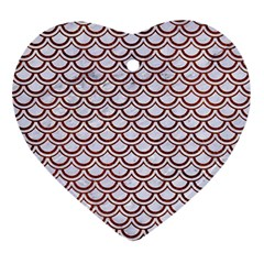 Scales2 White Marble & Reddish Brown Leather (r) Ornament (heart) by trendistuff