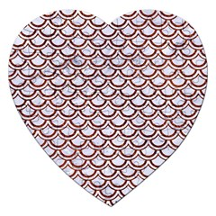 Scales2 White Marble & Reddish Brown Leather (r) Jigsaw Puzzle (heart) by trendistuff