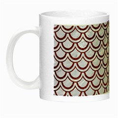 Scales2 White Marble & Reddish Brown Leather (r) Night Luminous Mugs by trendistuff